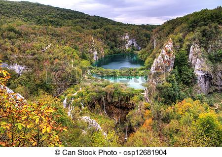 Stock Photography of Plitvice lakes panorama.