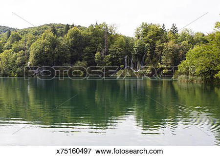 Picture of Veliko Lake inside Plitvice Lakes National Park.