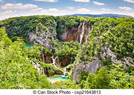 "Stock Photography of Waterfalls in ""Plitvice lakes"" National Park."