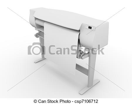 Clip Art of Plotter. Large printer for digital printing. 3d render.