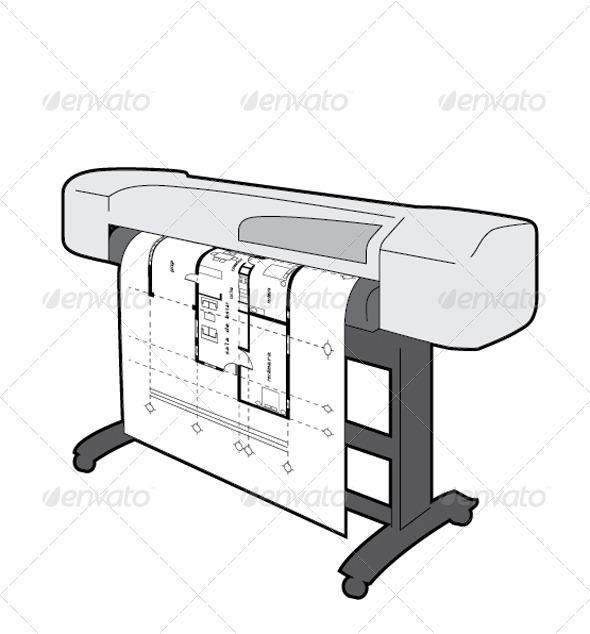 Plotter Printing an Architectural Plan by jaret.