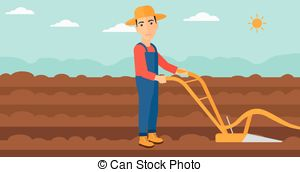 Vector Clipart of Farmer on the field with plough..