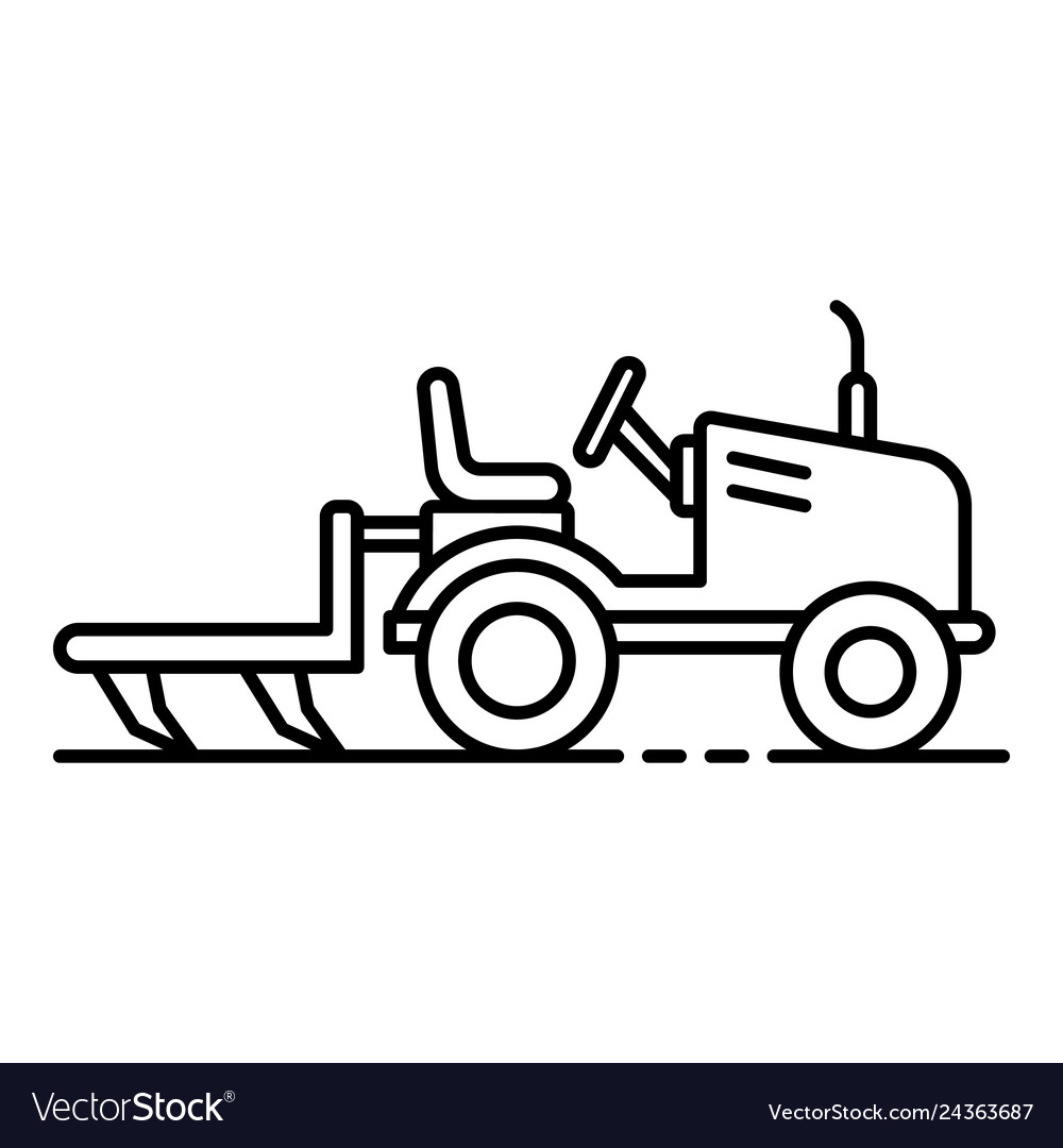 Small tractor plow icon outline style vector image.