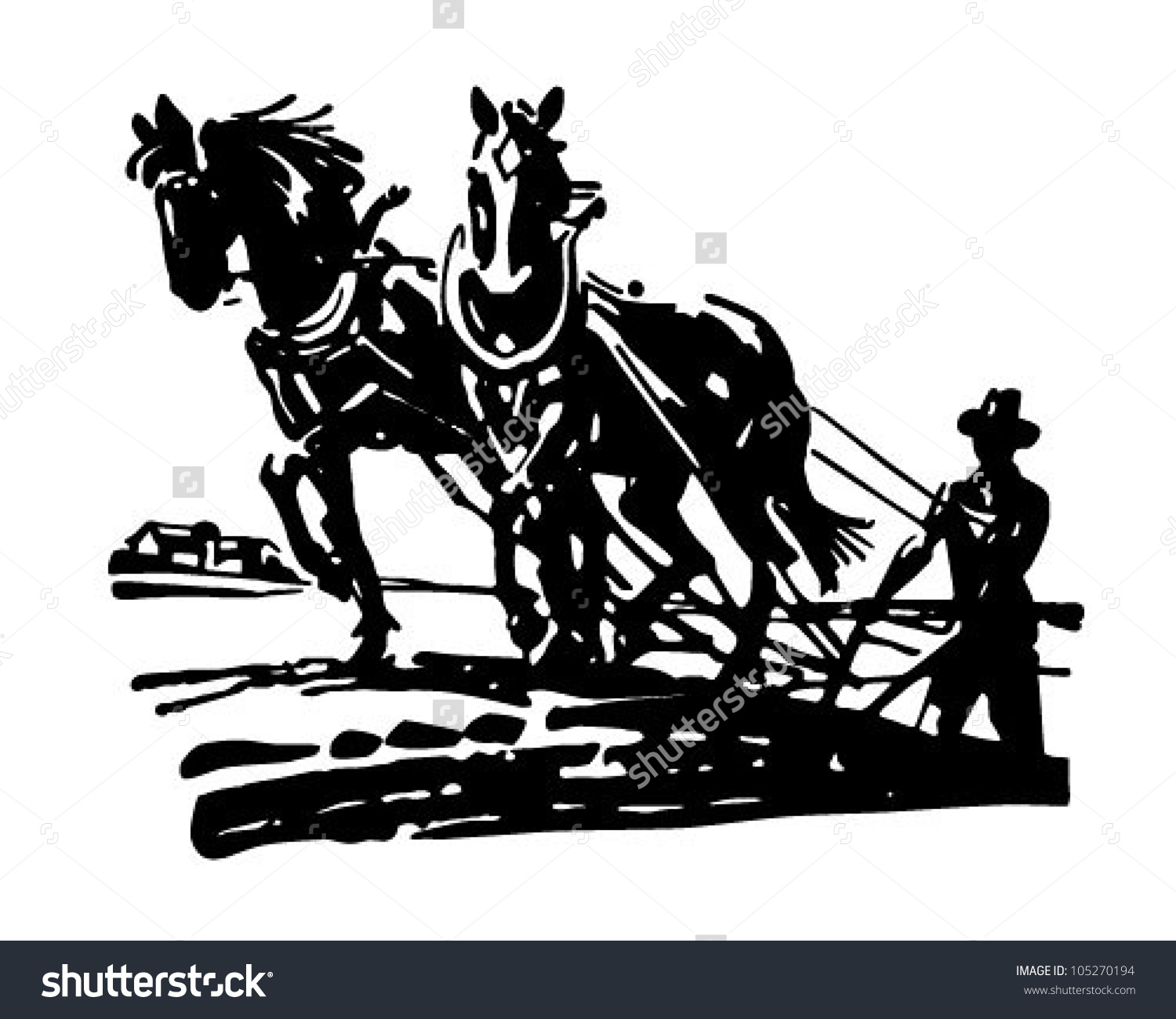 Horses Plowing Field Retro Clipart Illustration Stock Vector.