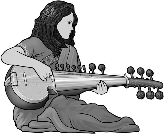 sarod ] plucked string instrument. grayscale free clip art.