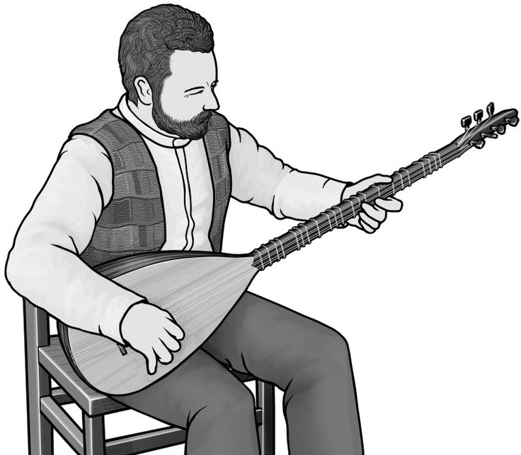 saz ] plucked string instrument. grayscale free clip art. Royalty.