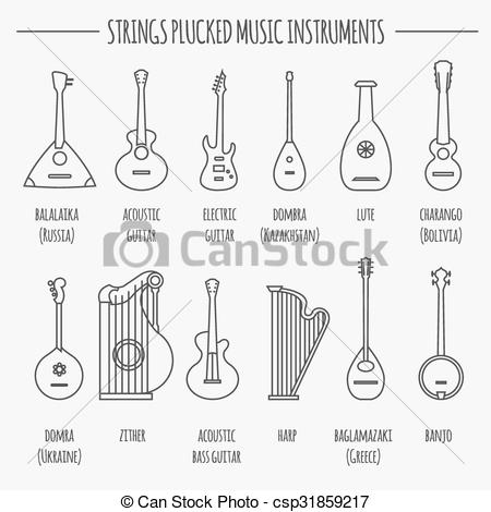 Vector Clip Art of Musical instrument. Strings plucked.