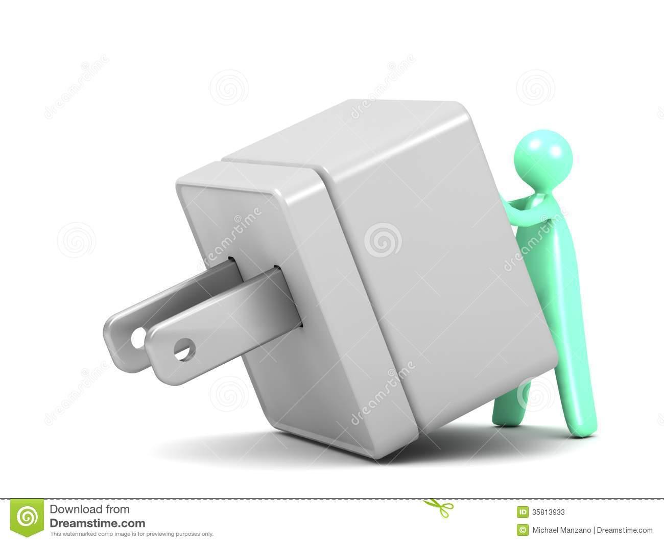 Cartoon Man Using An Electrical Plug Adapter Stock Photos.