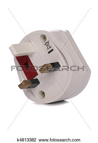 Stock Photo of Three pin plug adapter k4813382.