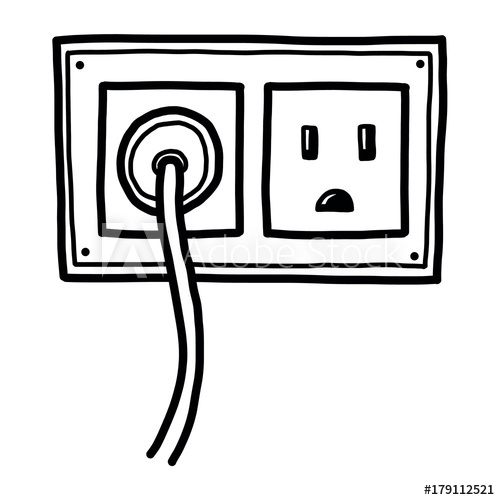 plug and electric socket / cartoon vector and illustration.