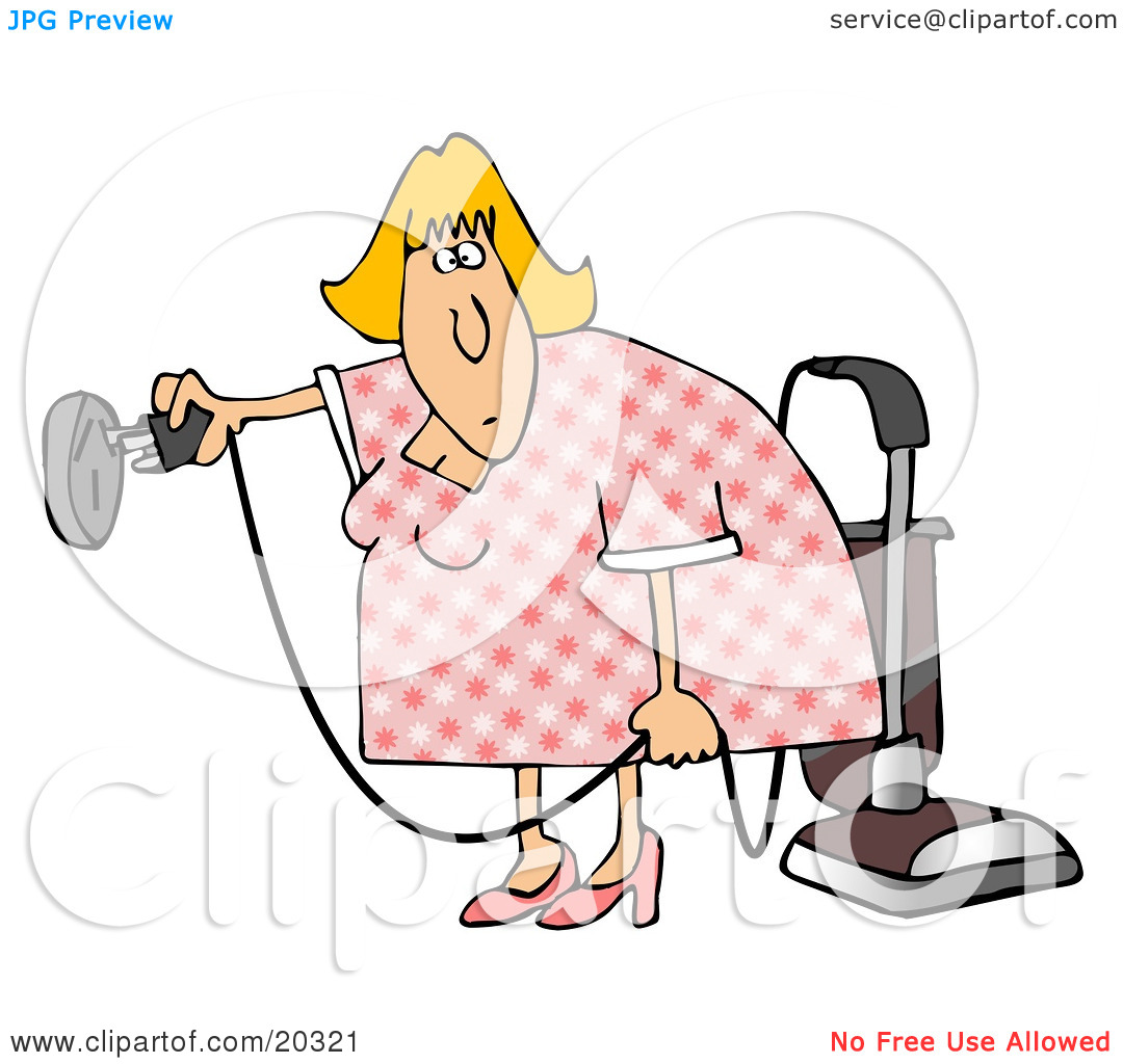 Clipart Illustration of a Blond House Keeper Trying To Figure Out.