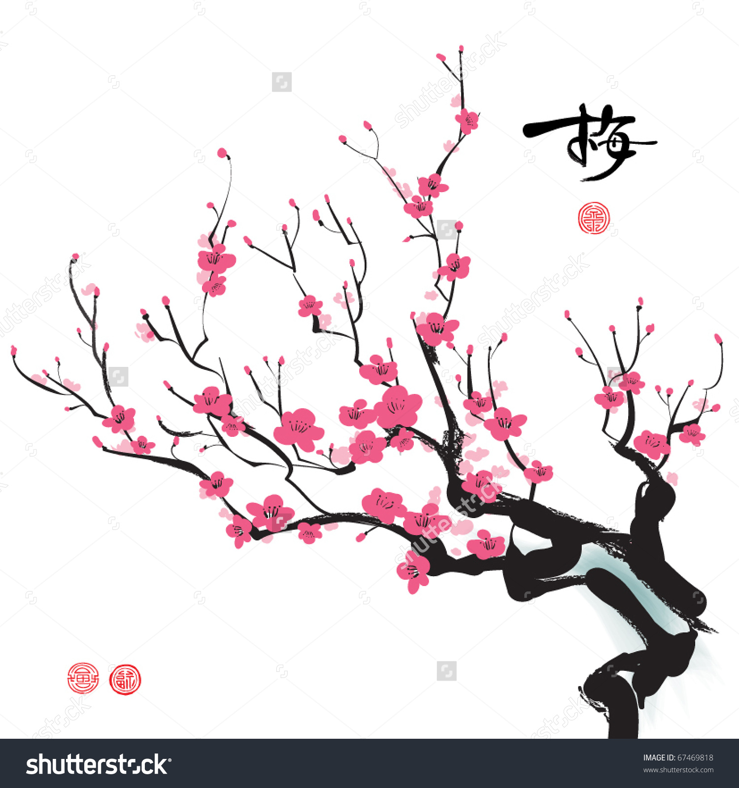 Plum Blossom Stock Vector 67469818.