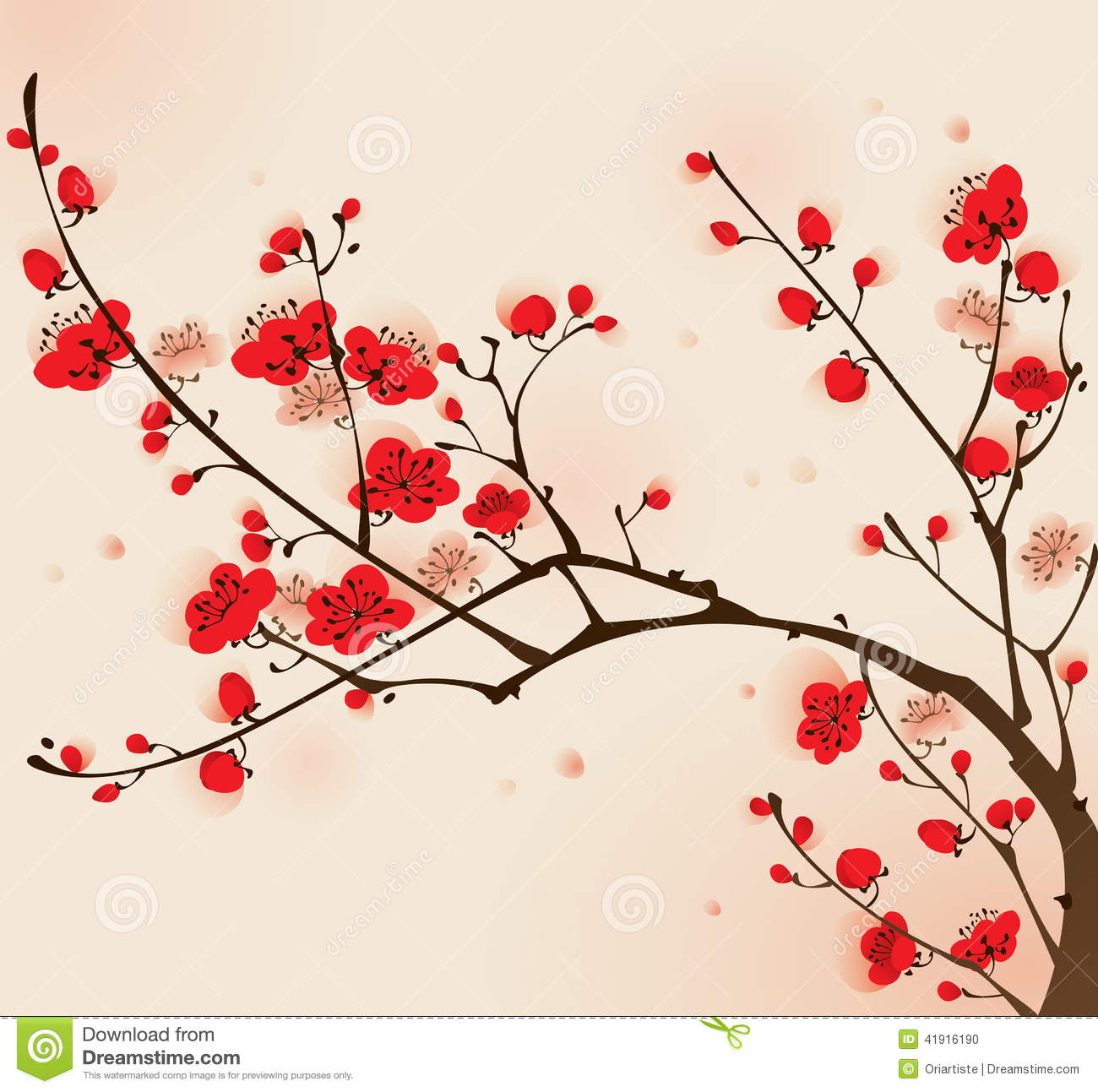 Oriental Style Painting, Plum Blossom In Spring Stock Vector.
