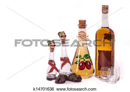 Stock Images of Dram and plum brandy bottle k14701636.