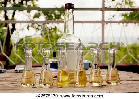 Stock Photography of Bottle of plum brandy with small glasses on.