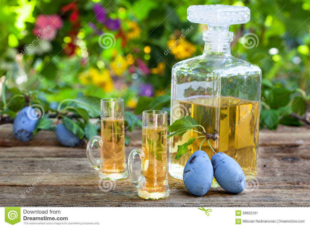Plum Brandy Or Rakija Stock Photo.