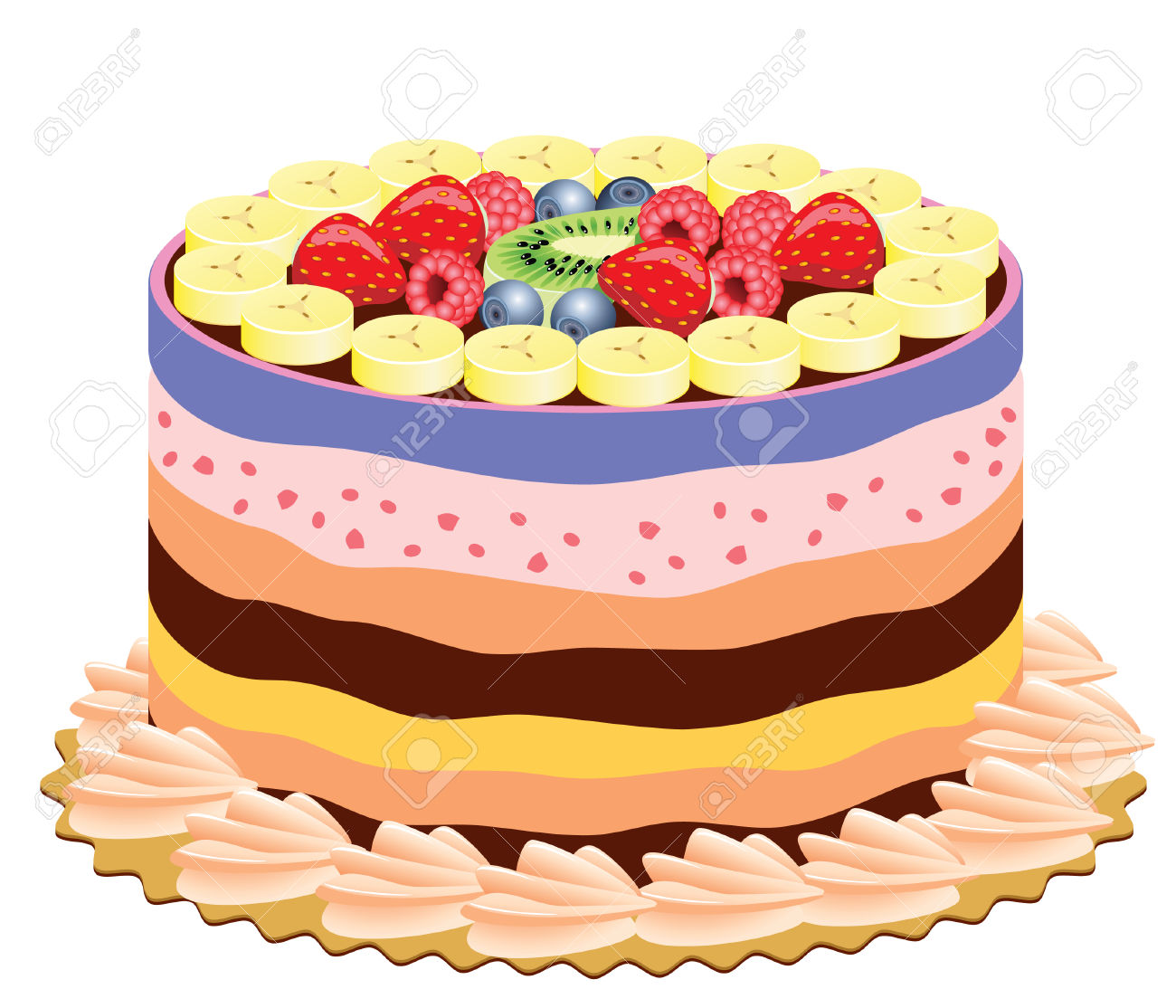 Vector Delicious Cake With Fruits Royalty Free Cliparts, Vectors.