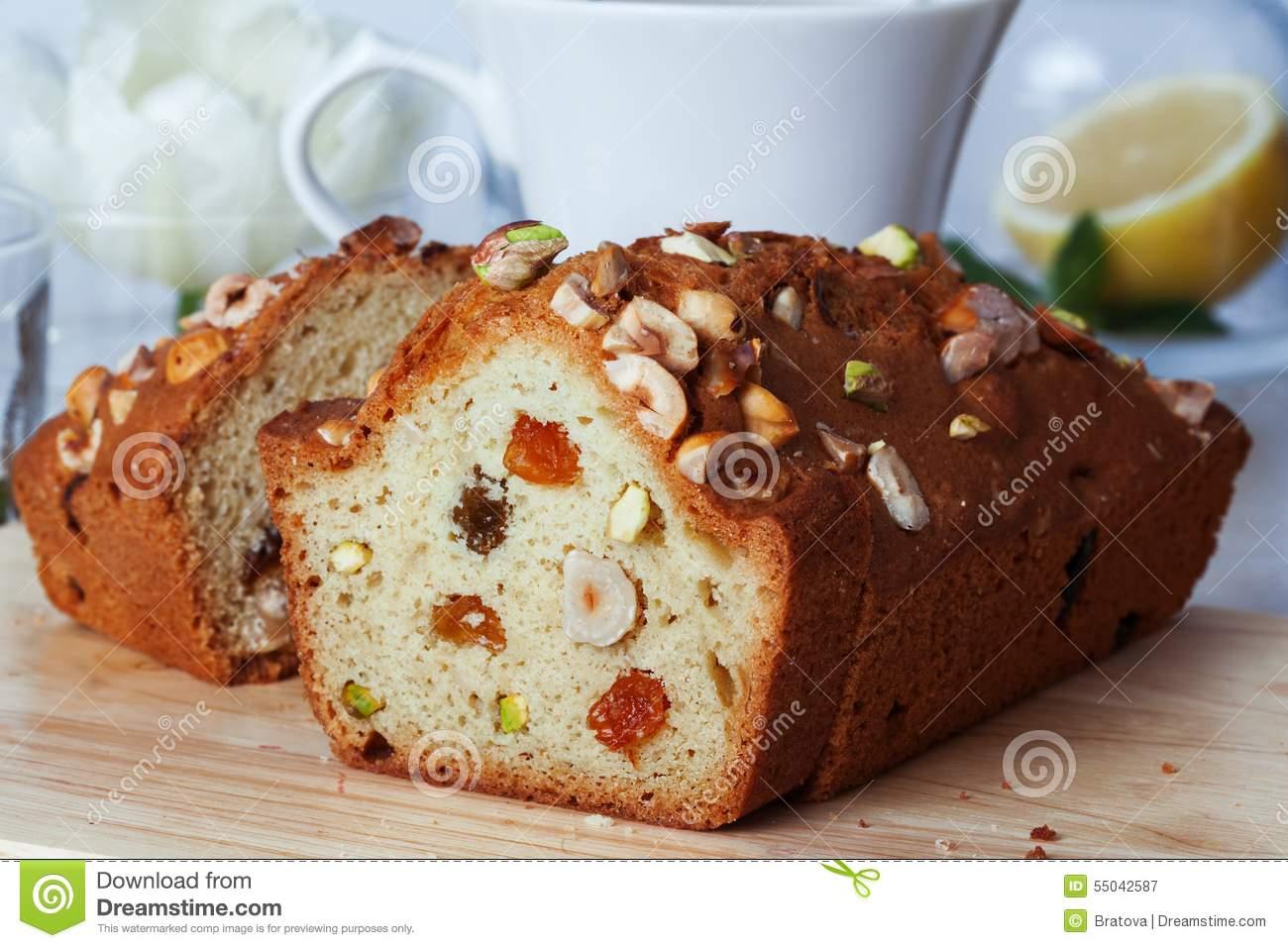 Plum Cake Food Raisins Nuts Close.
