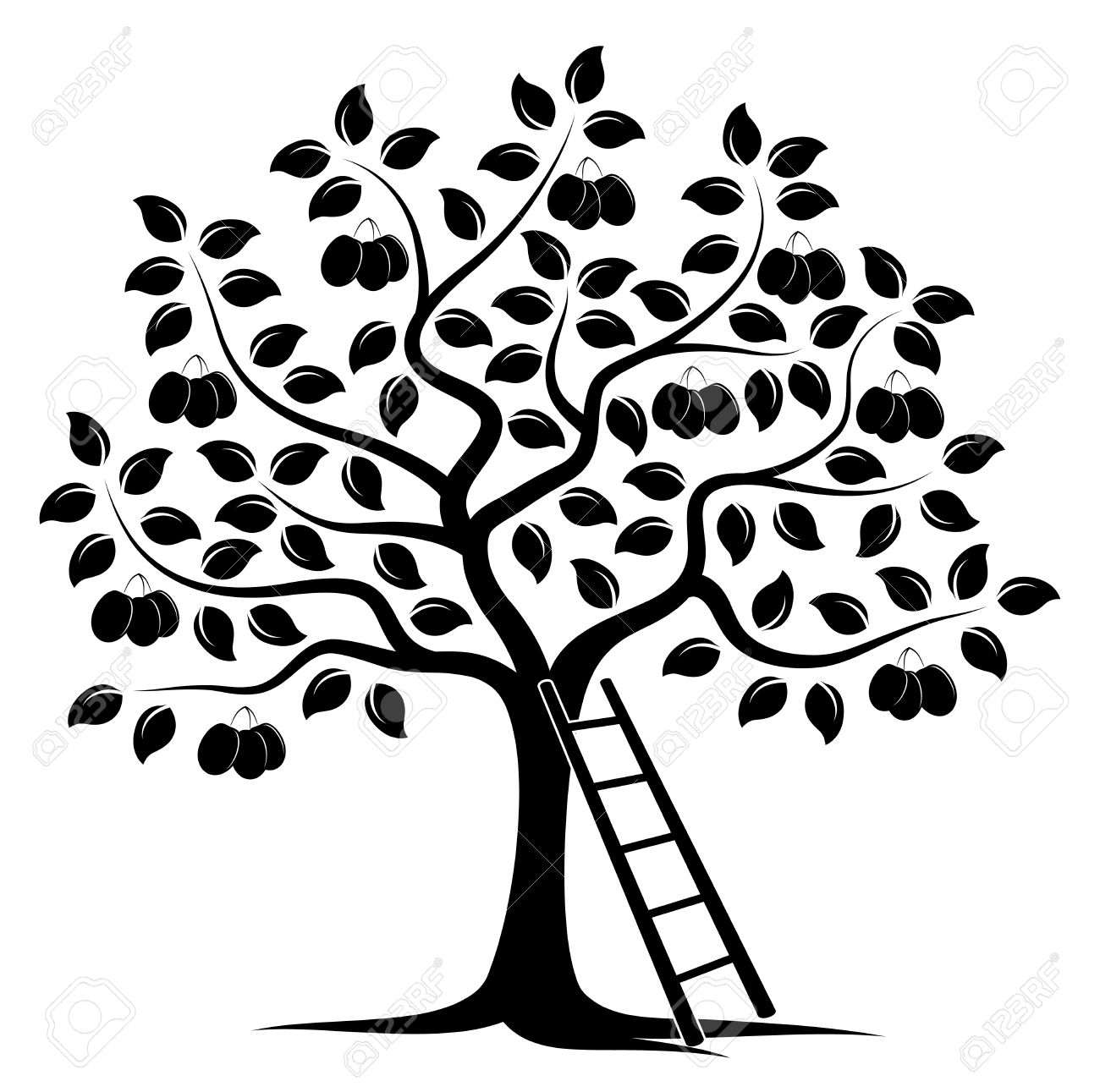 Vector Plum Tree And Ladder Isolated On White Background Royalty.