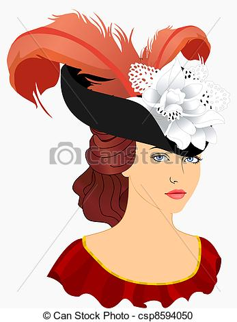 Vector Clipart of Portrait of young lady in hat with plumage.