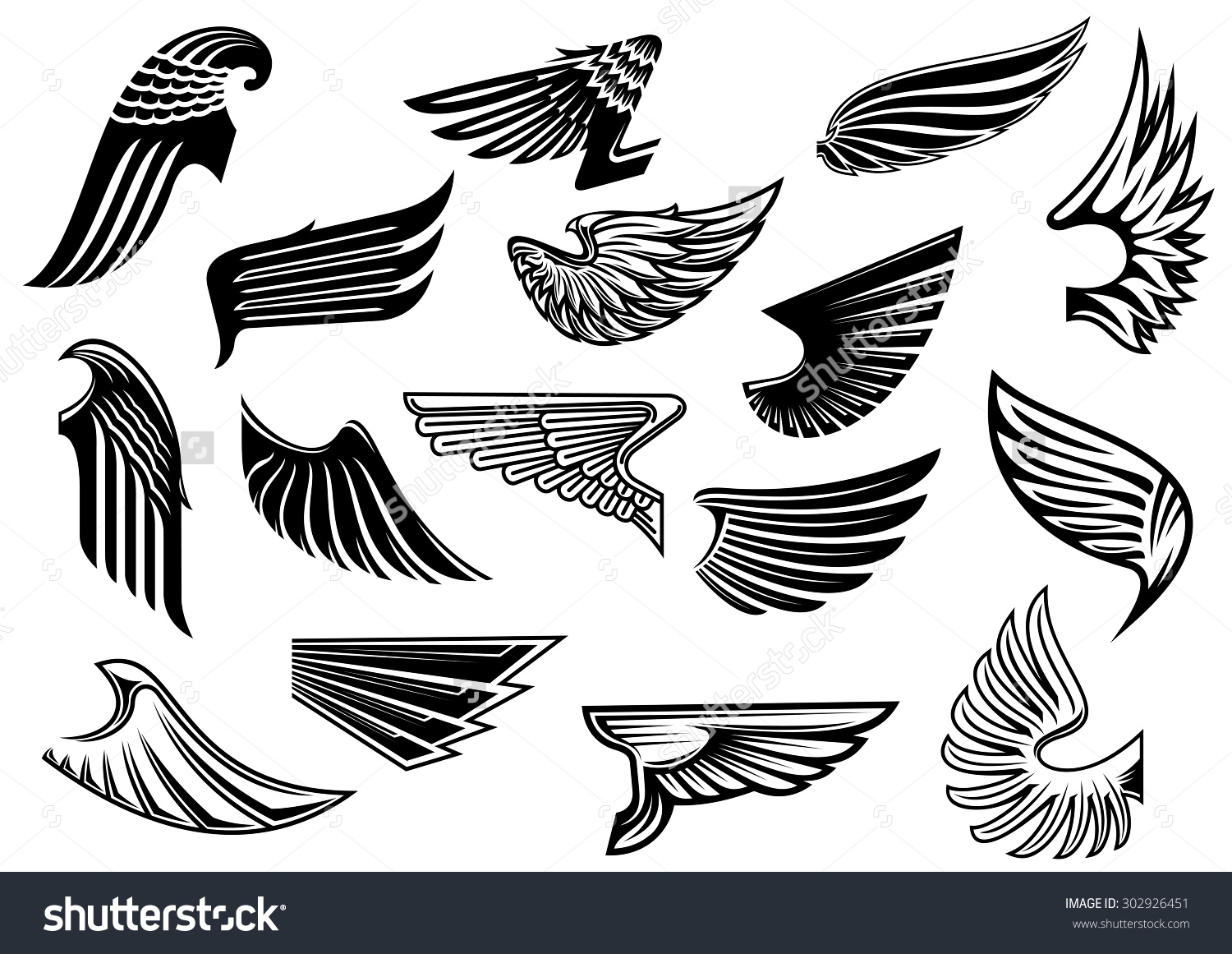 Vintage Isolated Heraldic Wings Set Detailed Stock Vector.