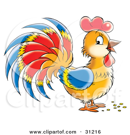 Clipart Illustration of a Brown Rooster With Blue, Red And Yellow.