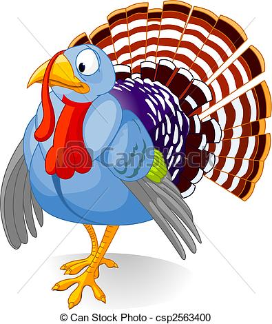 Vector Clipart of Cartoon Turkey.