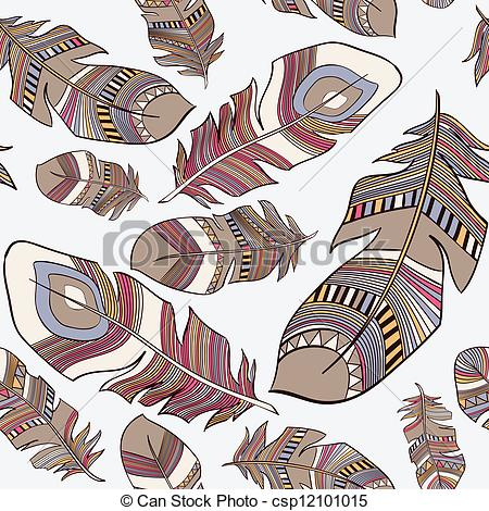 Vector Clip Art of Ethnic Indian feathers plumage.