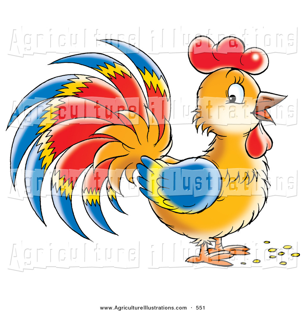 Agriculture Clipart of a Happy Brown Rooster with Blue, Red and.