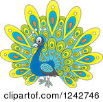 Clipart of a Cute Happy Peacock Bird with Colorful Plumage.