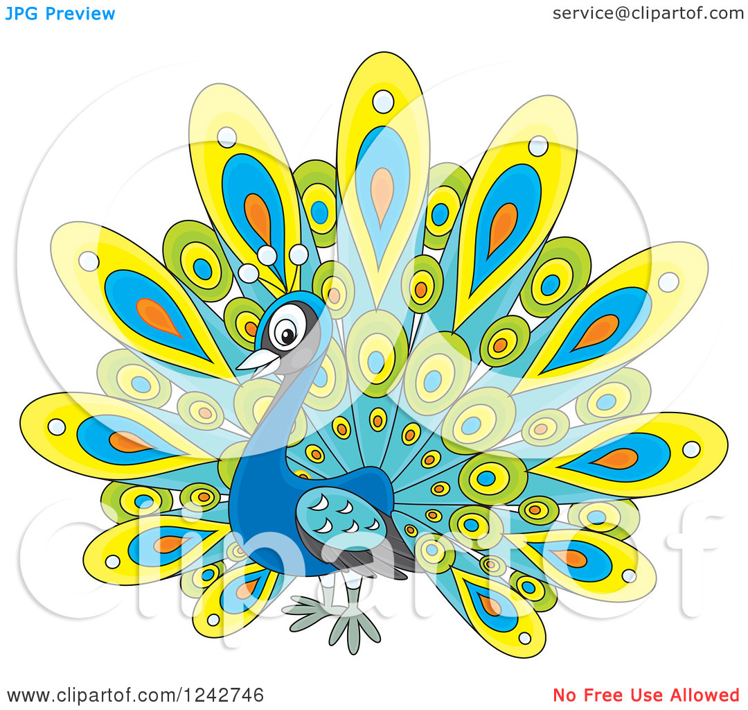 Clipart of a Cute Peacock Bird with Colorful Plumage.