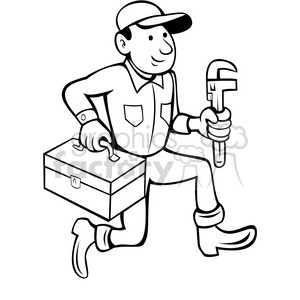 black and white plumber with toolbox clipart. Royalty.