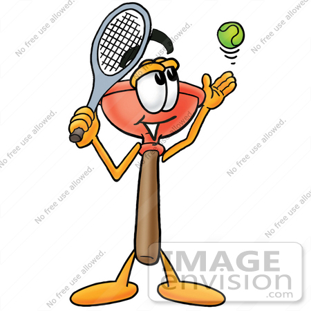 Clip Art Graphic of a Plumbing Toilet or Sink Plunger Cartoon.