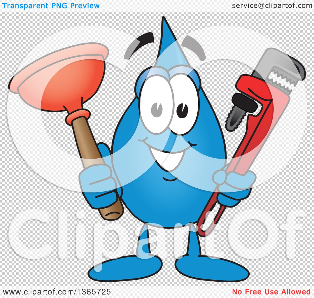Clipart of a Water Drop Mascot Cartoon Character Holding a.