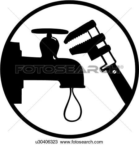 Clipart of , elements, faucet, occupations, plumbing, sign, spigot.
