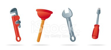 Plumber Tools Icons Stock Vector.