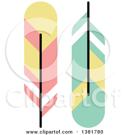 Clipart of Flat Design Colorful Feather Plumes.