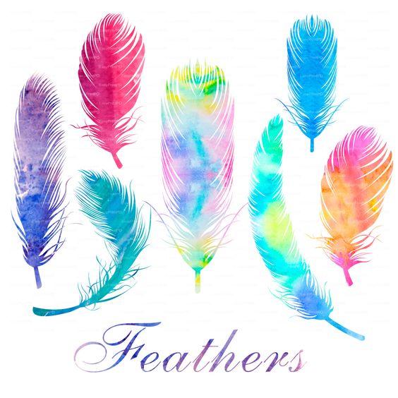 Aquarelle de plumes clipart, fichier numérique Clip Art PNG, EPS.