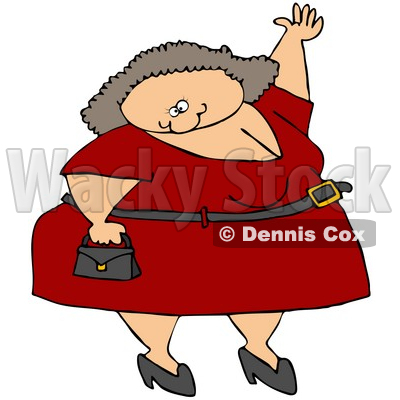 Free (RF) Clipart Illustration of a Plump Caucasian Woman In A Red.
