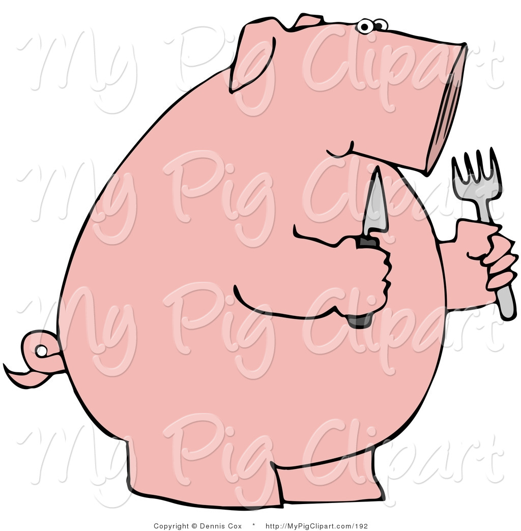 Swine Clipart of a Plump Hungry Pink Pig Holding a Knife and Fork.