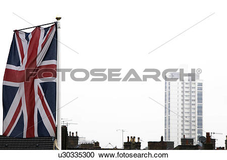 Stock Photography of England, London, Plumstead. A union jack flag.