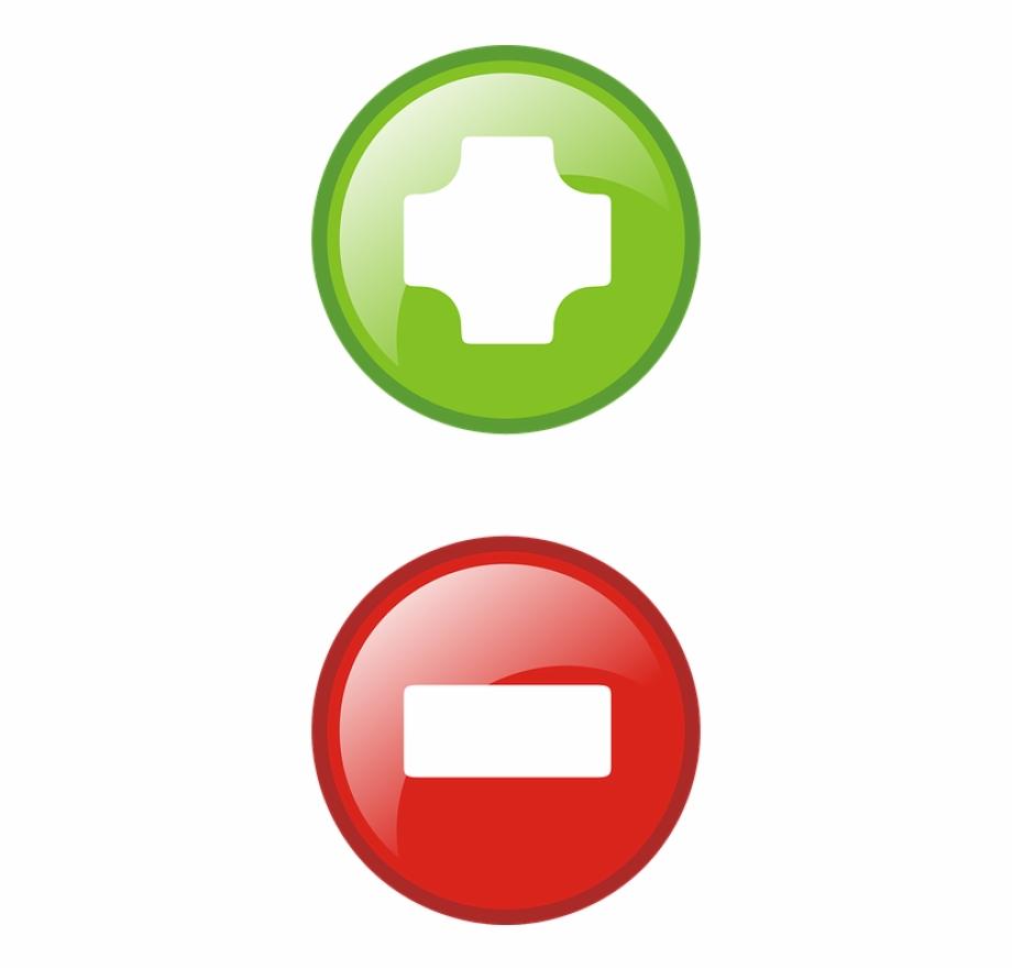 Plus Minus Icons Symbols Red.