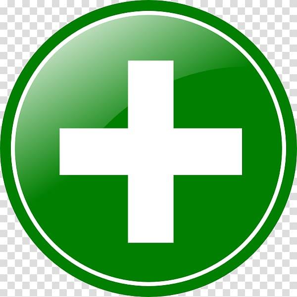 Round green and white cross logo illustration, + Symbol Plus.