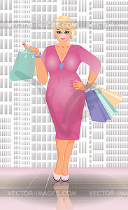 size shopping blonde woman, vector illustration.