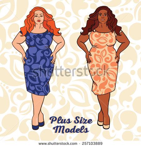 Plus size woman clipart.