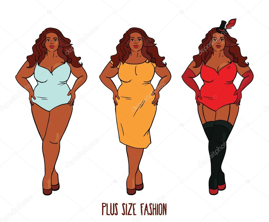 Beautiful African american woman with curves, plus size models.