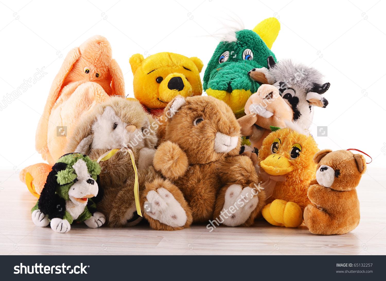 Stuffed Animal Toys On Wooden Floor Stock Photo 65132257.