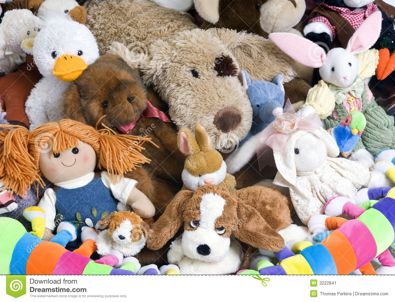 Group Of Stuffed Animals Clipart.