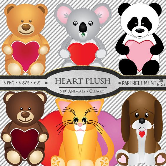 Plush Animal Clipart: Stuffed Animal Clipart, Valentine Clipart.