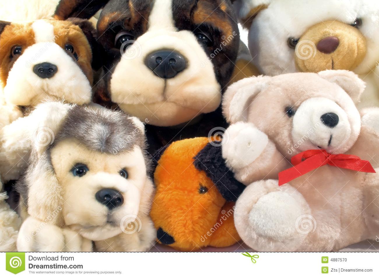 Pile Of Plush Animals Stock Photo.